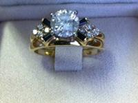 1 Carat 14K Gold Engagement Ring with Sapphire Wedding