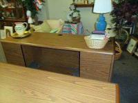 Large Matching Desk and Credenza.Heavy woodgrain set