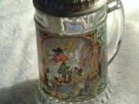 WEST GERMANY PEWTER LID GLASS BEER STEIN. RATE: 40.00.