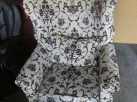 Print Barrel Back Chairs, Black Leather Glider Chair