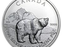 1 oz 2011 Canadian Wildlife Ser. Grizzly Bear - 2nd of