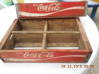 ONE red coke crate, wood, 4 sections - 1972
