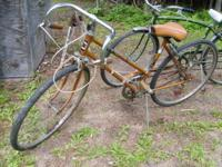 "TWO VINTAGE BIKES. ONE IS A ""SCHWINN COLLEGIATE"" IN"