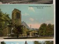 3-Original Streator,IL.post cards of churches in