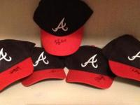 New Atlanta Braves replica caps autographed by Braves