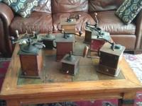 10 antique coffee mills/grinders from the 1800's. Cast