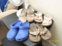 "BLUE , ""CROCS"" SIZE nine CLOGS! $10.00 IN MINT"