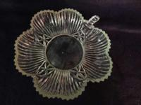 A depression glass candy dish 6ins wide from end of