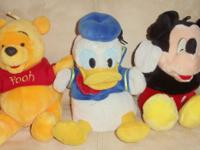 "10"" Disney Pooh,Donald Duck & Mickey Glove/Hand Puppets"