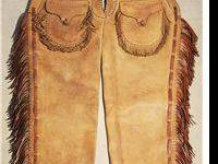 "Spectacular Fringed Shotgun Chaps; 38"" in length, an"