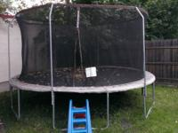 Big 10 foot trampoline with enclosure. This is 2 years