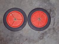 Two 10 in. hard rubber wheels. $5 pr. Call Bill at  //