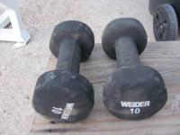 A set of 10 lb dumbbells, good condition    10.00