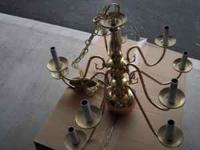 Brass plated chandlier, excellent condition. $25.00,
