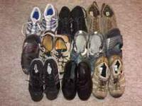 Ten pair assorted footwear in good shape. Adidas, Nike