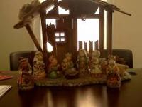 For Sale 10pc Nativity Set Hand Painted, Working Light,
