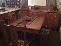 Lovely dining table, six chairs, huge buffet and