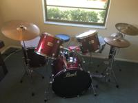 Drum set includes cymbal bag, sticks, brushes, cases