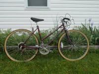 Vintage 10 speed road bike with lugged frame. The bike