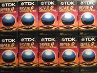 10 TDK VHS TAPES BLANK T-160 Revue Standard Grade w/Box