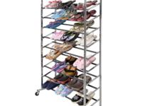 This is our 50 pairs free standing 10 tiers shoe tower