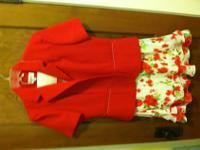 Size 12 red suit. Includes Jacket and skirt, no top.