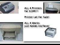 A Lot of 4 Printers For Sale, All 4 for $100!!!Lexmark