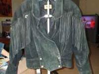 100% BLACK LEATHER SUEDE FRINGE JACKET... Jacket is