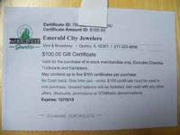 $100 transferrable gift certificate to Emerald City