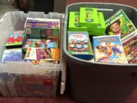 At least 100 Children's' VHS plus 5 Music Cds are in