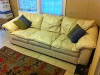 OFF-WHITE/CREAM/BEIGE COLORED COMFY LEATHER COUCH AND
