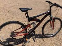 "MEN'S 26"" MONGOOSE 21 SPEED MOUNTAIN BIKE- red / black,"
