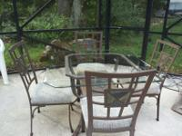 "Must sell! Very nice beveled glass table, 39"" square,"