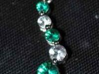 LIKE NEW!!! 10K PURE WHITE GOLD EMERALD WHITE SAPPHIRE