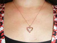 "18"" HEART NECKLACE 10KT. WITH DIAMONDS AND RUBIES. CALL"