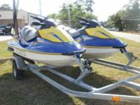 Pair(2) of 2006 Sea Doo GTI SE On A Double Trailer,
