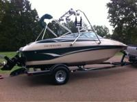 2002 Crownline ski boat with wakeboard tower. 19.5'