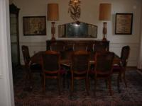 11 ft. long Table & 7 Ft Buffet with 8 Chairs, Oak