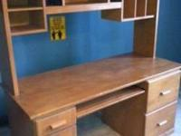 Solid Wood Desk w/shelves, light Maple color. Desk