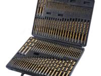 This 115pc high speed steel drill bit set includes