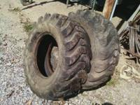 Two 12.5/80-18 Goodyear tires for backhoe, skid steer,