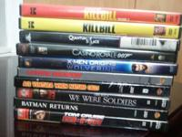 12 dvds for $15  kill bill  kill bill 2 007 quantum of
