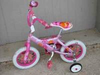"12"" Girls Barbie Bike w/ Training Wheels Used In Very"