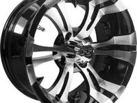 "12x7 aluminum wheels, machined w/black, on 22 "" all"