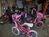 two girls 12 inch bikes. Mongoose is $25 and Huffy is