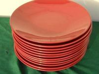 12 Large Red Deep Dinner Plates, no chips 12 inches