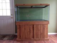 -120 Gallon Aquarium, Oak Stand, Light & Glass Top -Set