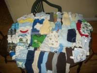 I AM SELLING ALL MY 0-3 MONTH BOY CLOTHES. NO STAINS ON