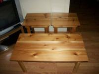 For sale is a hand crafted 3pc. Coffe table and end