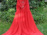 Custom designed red silk chiffon gown to look like a